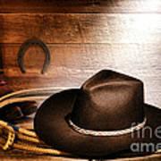 Black Felt Cowboy Hat Art Print