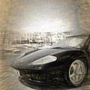 Black Ferrari Art Print