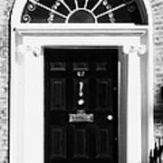 Black Georgian Door With Brass Letterbox Door Knob And Knocker And Fanlight In Dublin Art Print