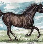 Black Horse Running Art Print
