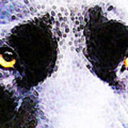 Black Labrador Retriever Dog Art - Lab Eyes Art Print by Sharon Cummings
