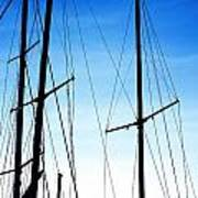 Black N Blue Hour Of Sailing Ships Art Print by Rosemarie E Seppala