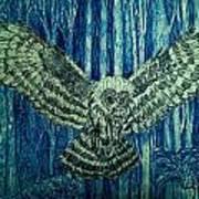 Black Owl On Blue Night Art Print