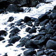 Black Rocks Along The Puna Coast Art Print