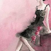 Black Ruffled Dress With Roses Fashion Illustration Art Print Art Print