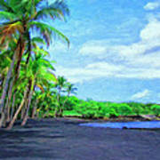 Black Sand Beach At Punaluu Art Print
