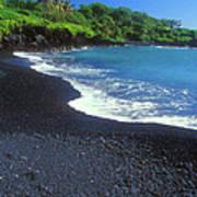 Black Sand Beach Hana Maui Hawaii Art Print
