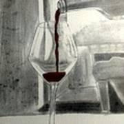 Black White And Red Wine Art Print