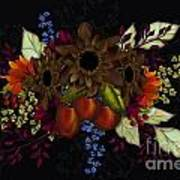 Black With Flowers And Fruit Art Print