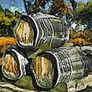 Blackjack Winery Wine Barrels Art Print