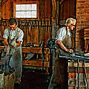 Blacksmith And Apprentice Impasto Art Print
