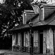 Blacksmith Shop On A Rainy Day Bw Art Print