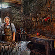 Blacksmith - Working The Forge  Art Print by Mike Savad