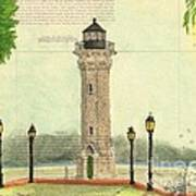 Blackwell Island Lighthouse Ny Chart Map Art Art Print