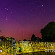 Blanco River Dam At Night - Texas Hill Country Blanco Texas Art Print