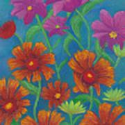 Blanket Flowers And Cosmos Art Print