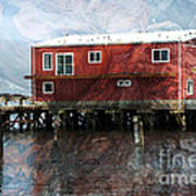 Blended Oregon Dock And Structure Art Print by Ron Hoggard