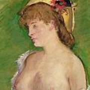 Blonde With Bare Breasts Art Print