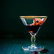Bloody Eyeball In Martini Glass Art Print by Edward Fielding
