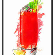 Bloody Mary Cocktail Marker Sketch Art Print