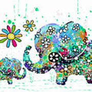 Blooming Elephants Art Print