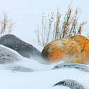 Blowing Snow And Rocks Art Print
