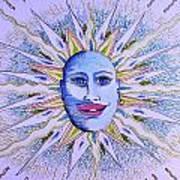 Blu Glitter Sun Art Print