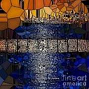 Blue And Gold Stained Abstract Art Print