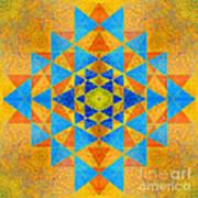 Blue And Gold Yantra Meditation Mandala Art Print