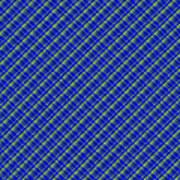 Blue And Green Diagonal Plaid Pattern Cloth Background Art Print