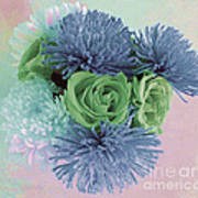 Blue And Green Flowers Art Print