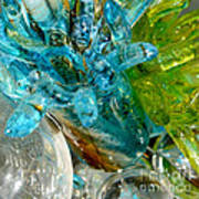 Blue And Green Glass Abstract Art Print