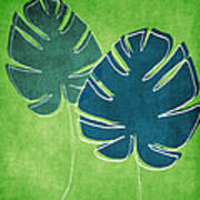 Blue And Green Palm Leaves Print by Linda Woods