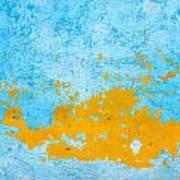 Blue And Orange Wall Texture Art Print