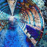 Blue And Rust Grunge Tunnel Art Print