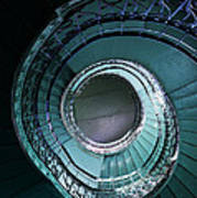 Blue And Silver Spiral Stairs Art Print