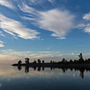 Brushstrokes On The Sky - Blue And White Serenity Art Print