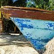 Blue Beached Canoe Art Print