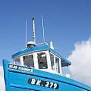 Blue Boat Blue Sky Art Print