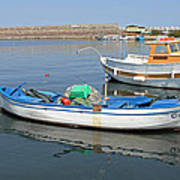 Blue Boat In Sozopol Harbour Art Print