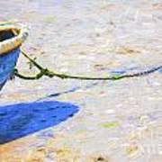 Blue Boat On Mudflat Art Print