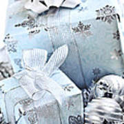 Blue Christmas Gift Boxes Art Print