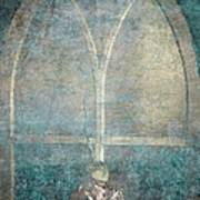 Blue Church Window And Hydrangea Art Print