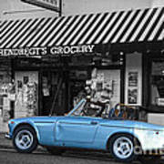 Blue Classic Car In Jamestown Art Print by RicardMN Photography