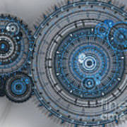 Blue Clockwork Machine Art Print