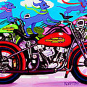Blue Dogs On Motorcycles - Dawgs On Hawgs Art Print