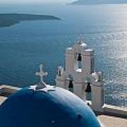 Blue Domed Church In Santorini Greece Art Print