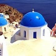 Blue Domes In Santorini Art Print