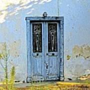 Blue Door In Shade Art Print