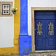 Blue Door Of Medieval Obidos Art Print by David Letts
